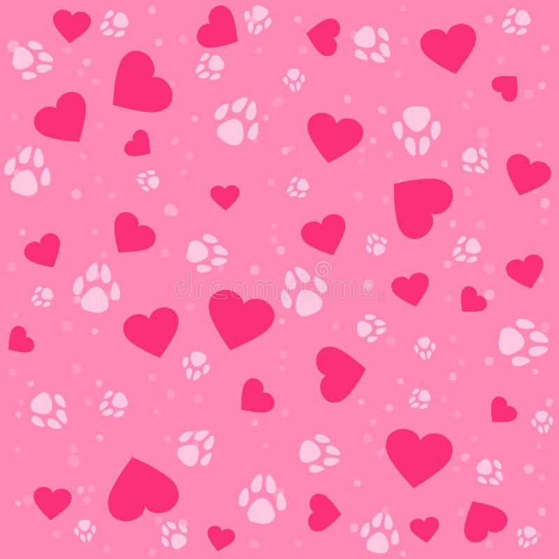 Nahtloses reizendes Muster mit kleinen Herzen und Pfotenabdruckhund stockfoto