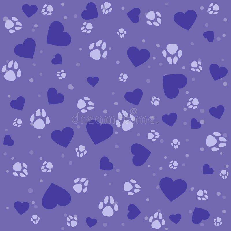 Nahtloses reizendes Muster mit kleinen Herzen und Pfotenabdruckhund lizenzfreie stockfotos