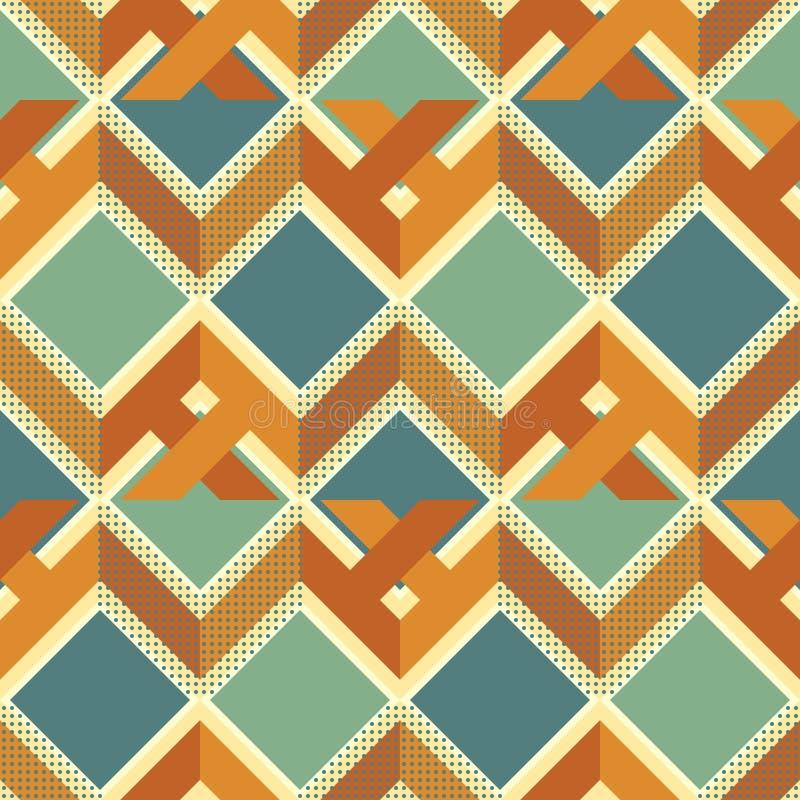 Nahtloses Retro- Muster des komplexen Zickzacks, der Quadrate und der Punkte lizenzfreie abbildung