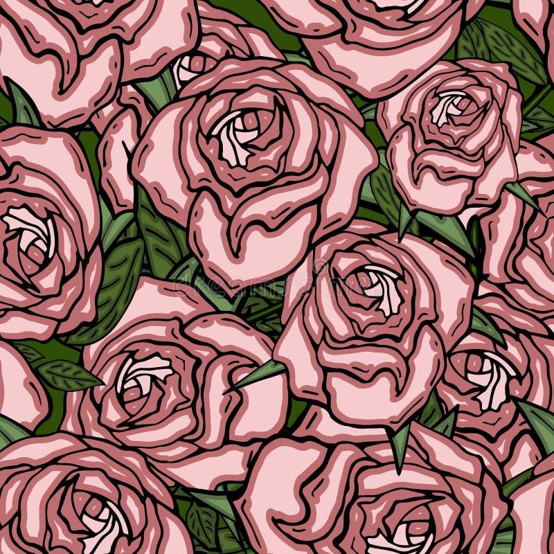 Nahtloses Retro- Muster des Vektors, Blumen stieg Kann f?r Webseitenhintergrund, Musterf?llen, Tapete, Oberfl?che verwendet werde vektor abbildung