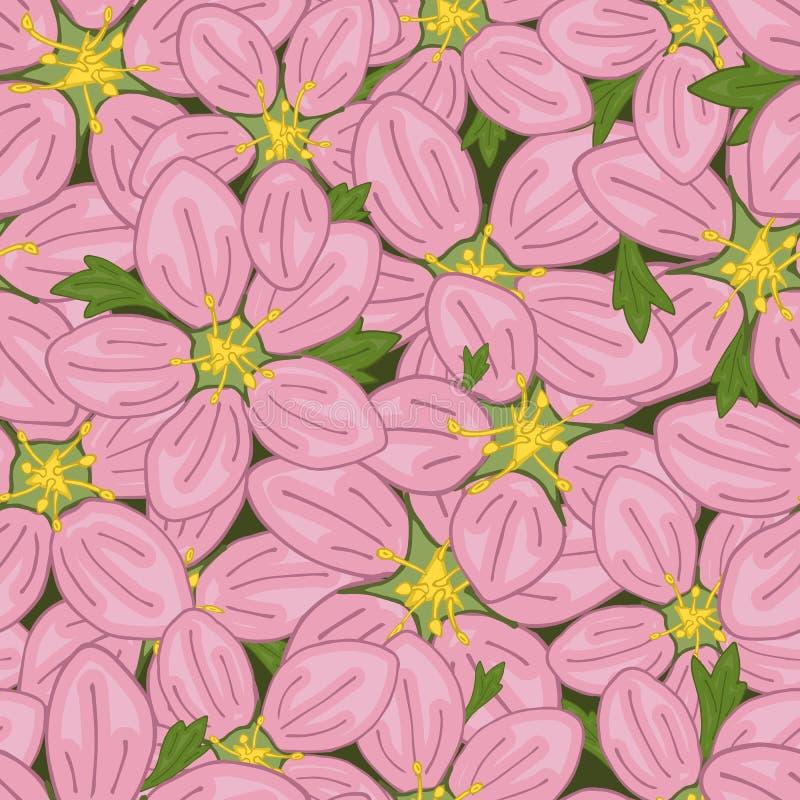 Nahtloses Retro- Muster des Vektors, Blumenwiesensteinbrech Füllen, Tapete, Oberflächenbeschaffenheiten vektor abbildung