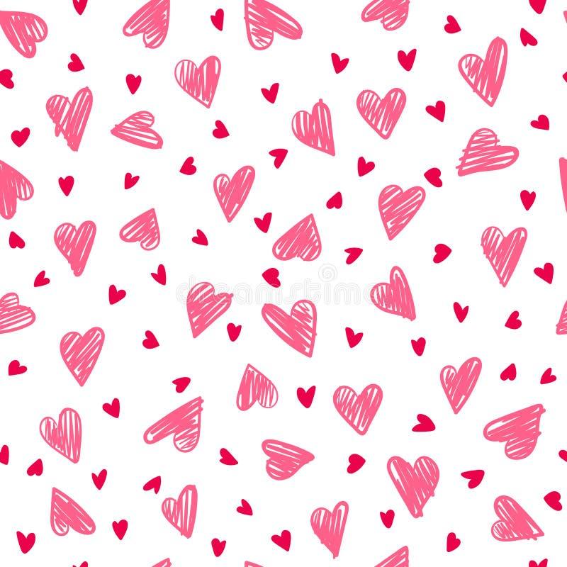 Nahtloses romantisches Muster mit Handzeichnungsherzen stockfoto