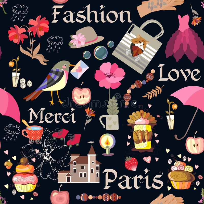 Nahtloses romantisches Muster mit Kerze, Haus, Tasse Tee, verschiedene Blumen und Kuchen, Vogel mit Umschlag, Hut und Kleid stock abbildung
