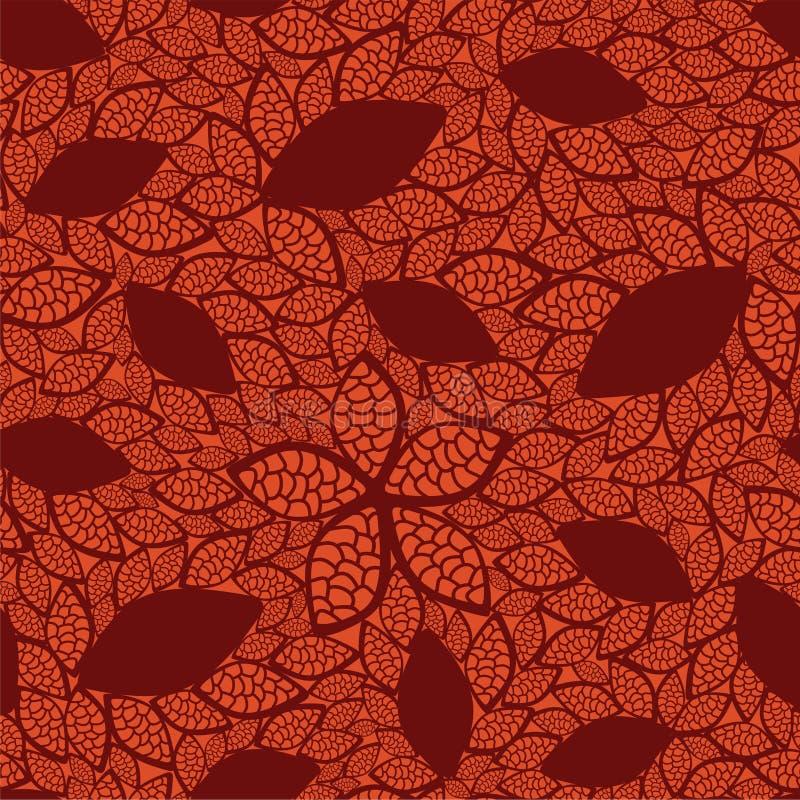 Nahtloses Rot lässt Muster auf orange Hintergrund vektor abbildung