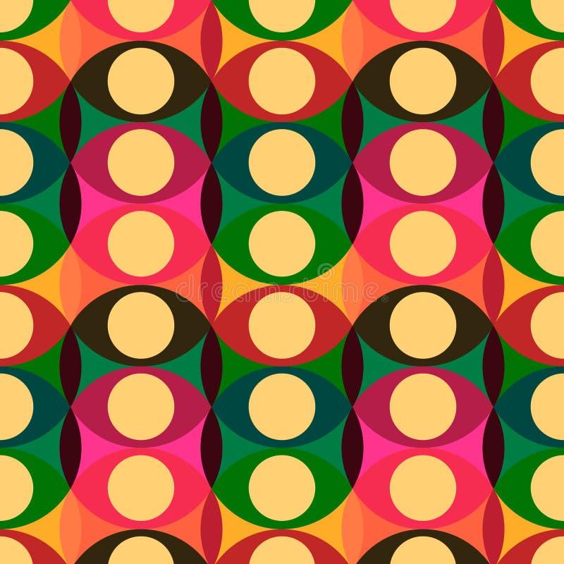 Nahtloses rotes gelbes Kreismuster lizenzfreie abbildung