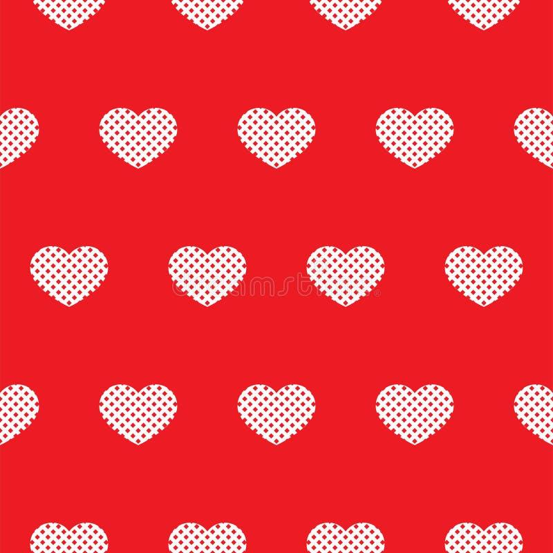 Nahtloses rotes Muster mit Herzen Vektor vektor abbildung
