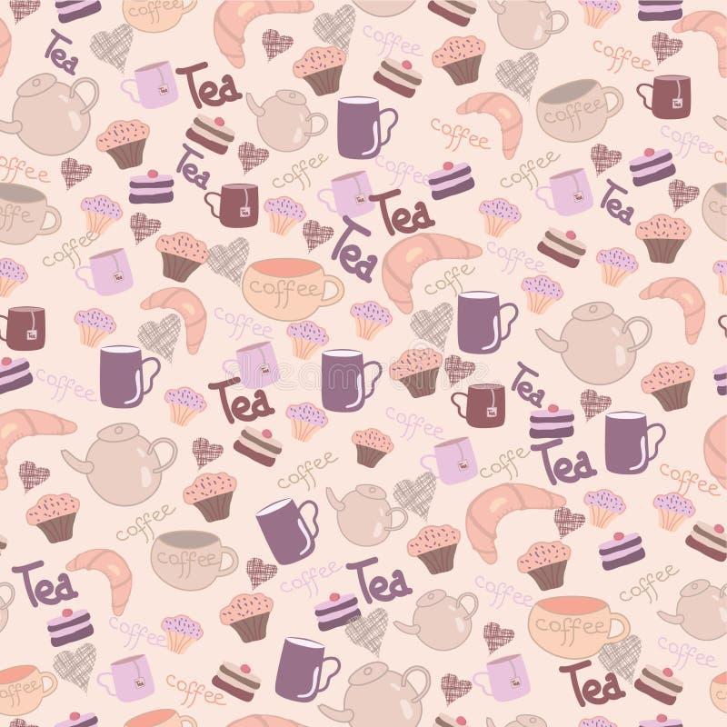 Nahtloses süßes Muster mit Tee u. Kaffee lizenzfreie abbildung