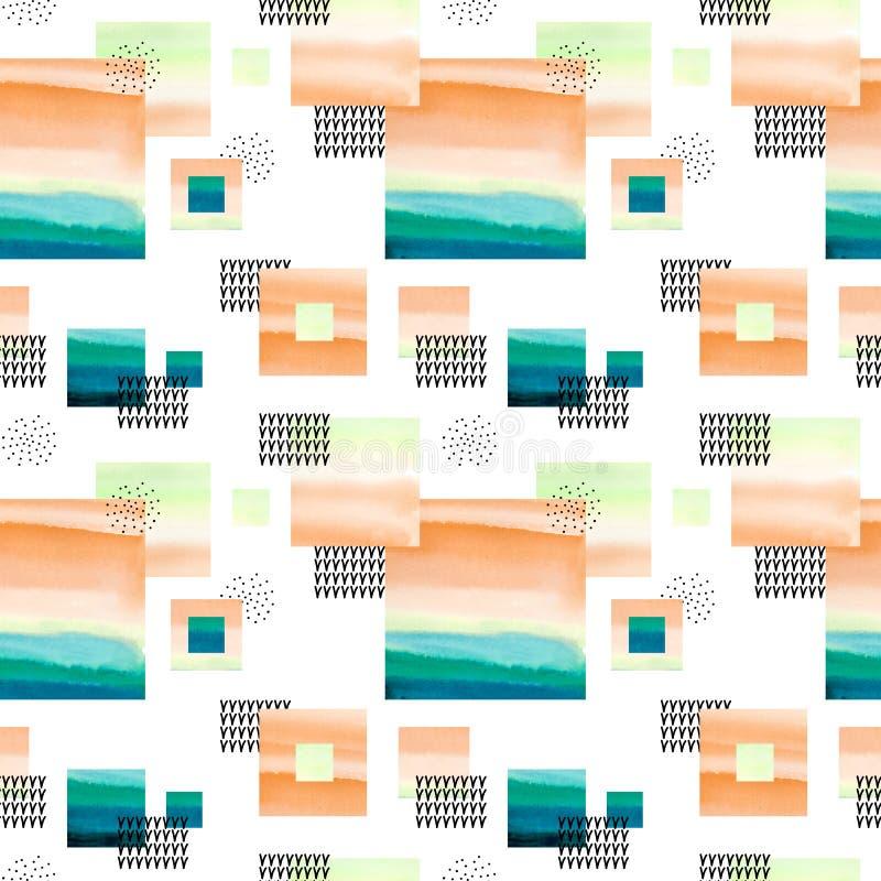 Nahtloses Sammlungsstellenmuster Abstrakter Hintergrund mit Aquarellformen, Punkte stock abbildung