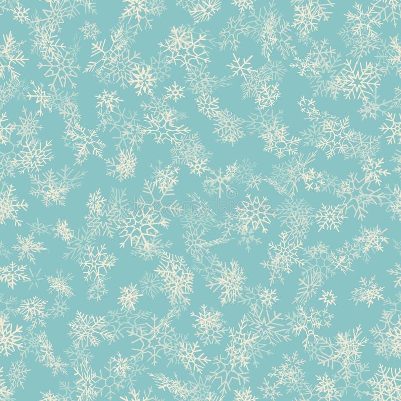 Nahtloses Schneeflockenmuster der frohen Weihnachten und des guten Rutsch ins Neue Jahr Vervollkommnen Sie für Packpapier oder Ge stock abbildung
