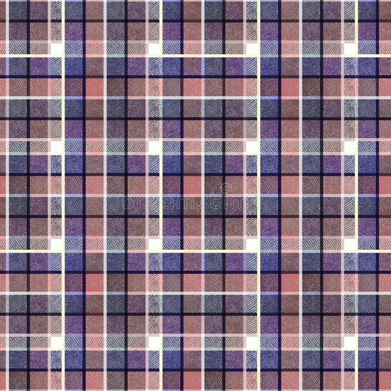Nahtloses schottisches Schottenstoffmuster Strukturiertes Muster Blaues, rosa Plaid lizenzfreie abbildung