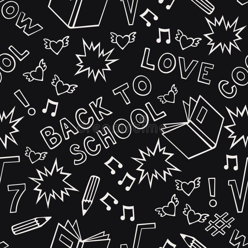 Nahtloses Schulmuster auf schwarzem Hintergrund stock abbildung