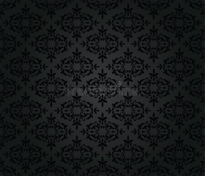 Nahtloses schwarzes Blumendamasttapetenmuster stock abbildung