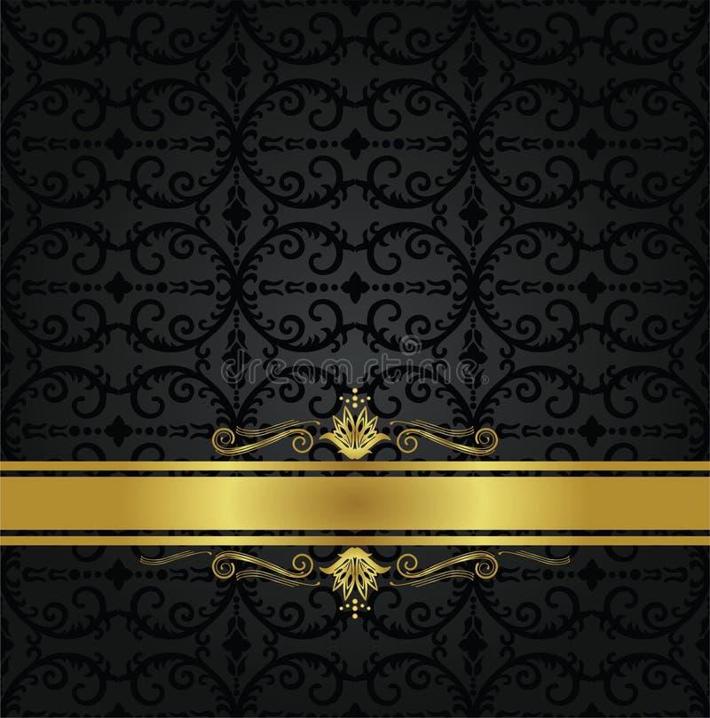 Nahtloses schwarzes Blumentapeten- und Goldband vektor abbildung