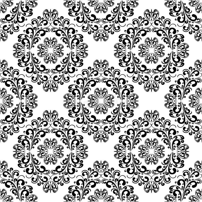 Nahtloses schwarzes Damast Muster auf dem weißen Hintergrund. vektor abbildung
