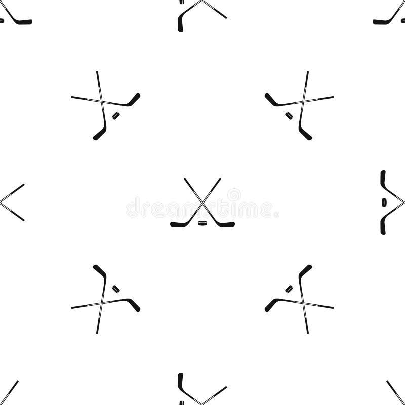 Nahtloses Schwarzes des Eishockeyschläger-Musters vektor abbildung