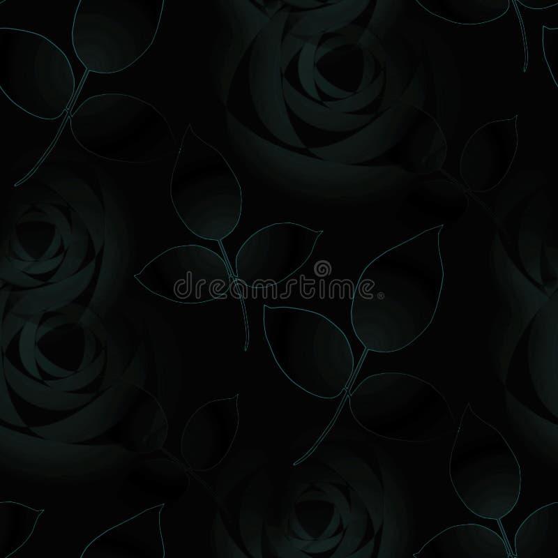 Nahtloses schwarzes dunkelgrünes Schwarzes der Rosen und der Blätter vektor abbildung