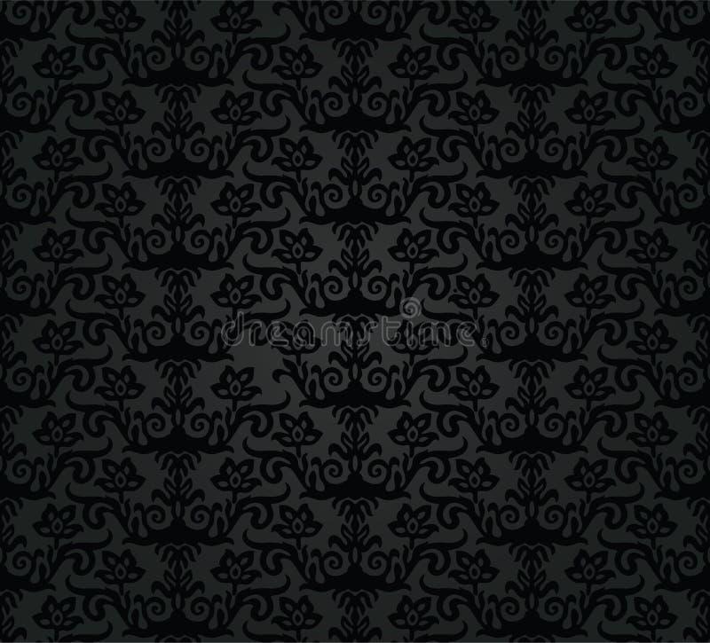 Nahtloses schwarzes Holzkohlenblumentapetenmuster vektor abbildung