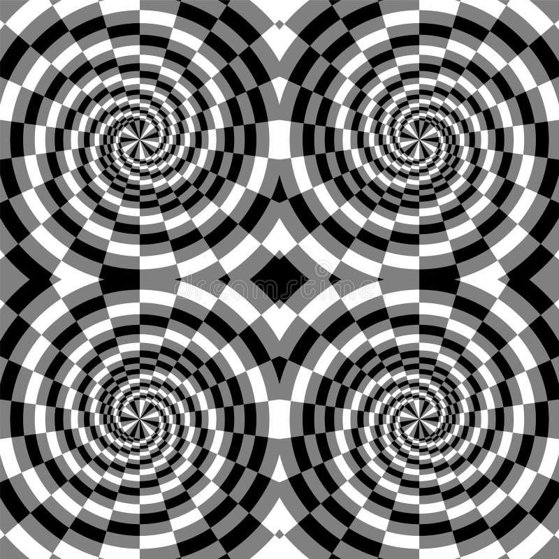 Nahtloses Schwarzes, Weiß und Grey Spirals der Rechtecke, die von der Mitte erweitern Optische Täuschung der Tiefe und des Volume vektor abbildung