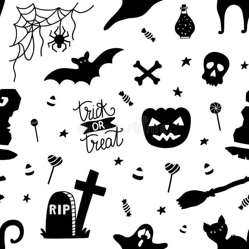 Nahtloses Schwarzweiss-Muster für Halloween mit Kürbis, Süßigkeit, Geist, Spinne, Schläger, Hexenhut, Katze, Schädel, Knochen vektor abbildung