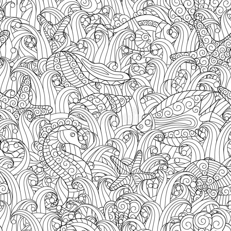 Nahtloses Schwarzweiss-Muster Für Malbuch Fische, Meerespflanzen ...