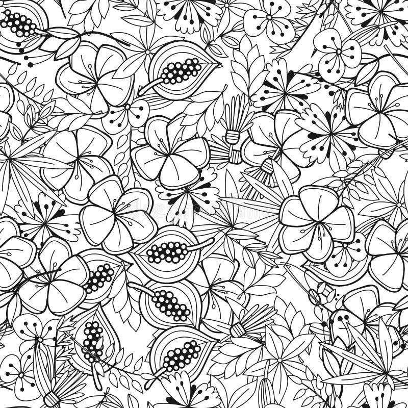 Nahtloses Schwarzweiss-Muster Mit Blumen, Blätter Für Die Färbung ...