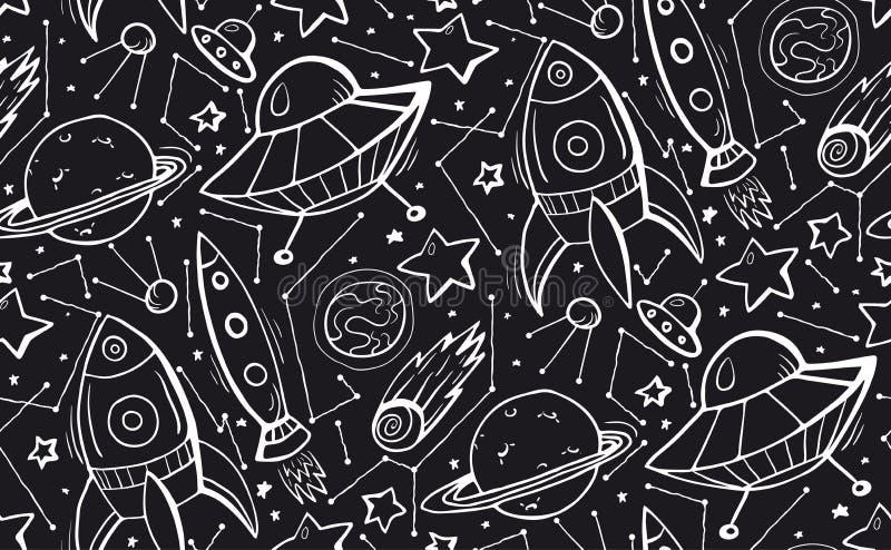 Nahtloses Schwarzweiss-Muster mit der gezeichneten Hand umreißen Kinderillustrationen von Sternen, von Raumschiffen und von UFOs  stock abbildung