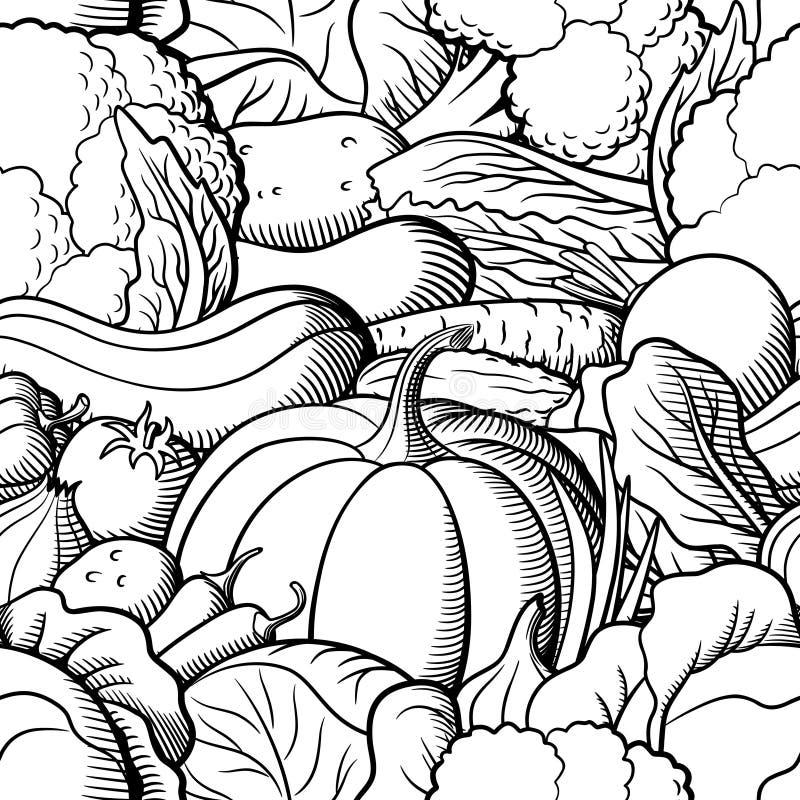 Nahtloses Schwarzweiss-Muster mit Gemüse vektor abbildung