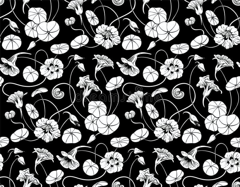 Nahtloses Schwarzweiss-Muster mit Kapuzinerkäseblumen und -blättern stockbilder