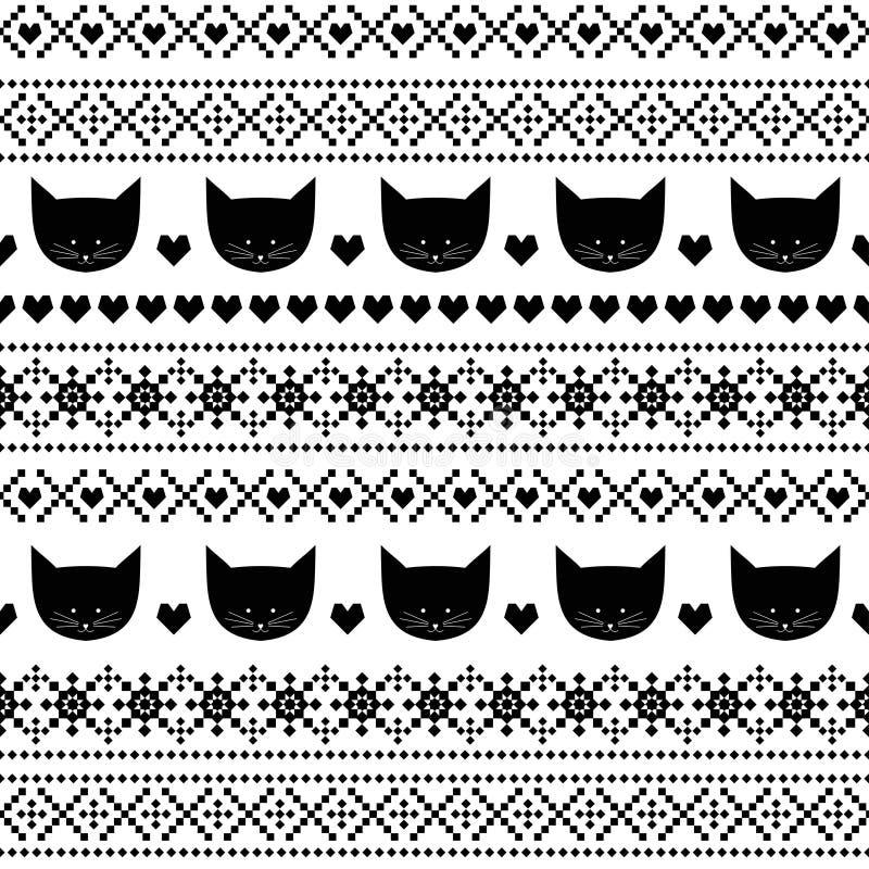 Nahtloses Schwarzweiss-Muster mit Katzen für Kinderfeiertage Skandinavische Strickjackenart vektor abbildung