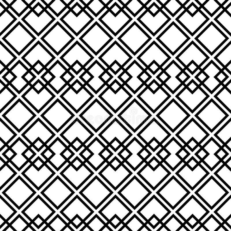 Nahtloses Schwarzweiss-Muster mit Quadrat lizenzfreies stockfoto