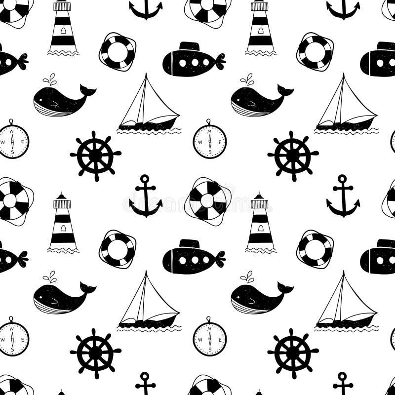 Nahtloses Schwarzweiss-Muster mit Walen, Segelschiffen, Rädern, Rettungsringen und Leuchttürmen lizenzfreie abbildung