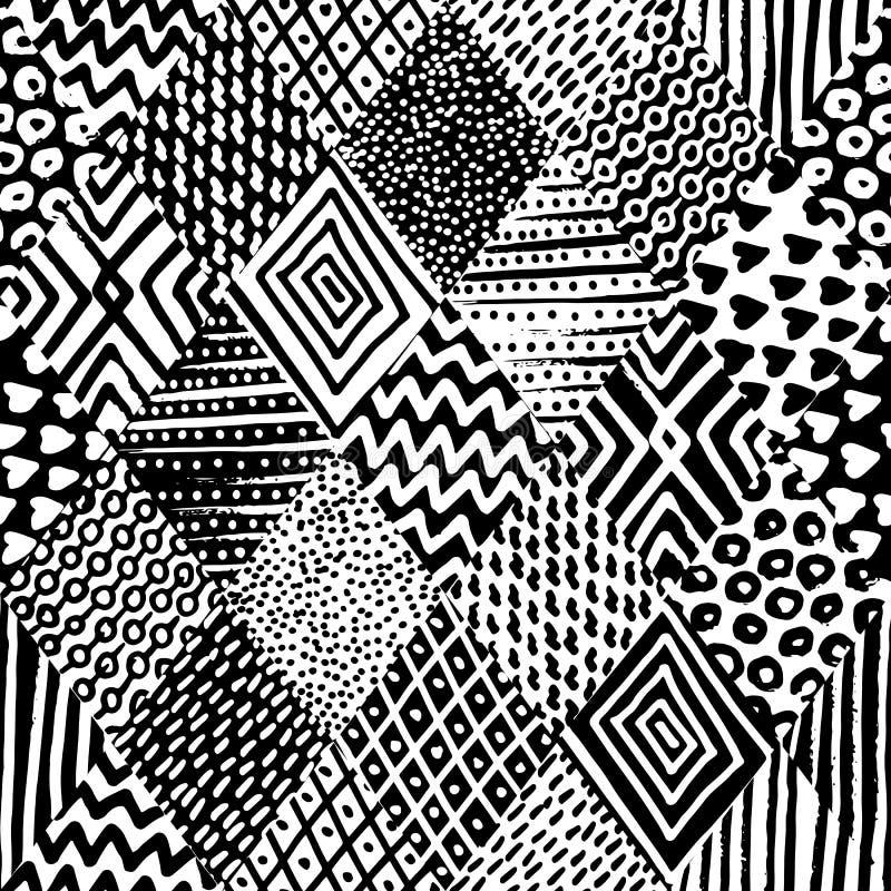 Nahtloses Schwarzweiss-Muster Verzierung gezeichnet in Tinte Geometr stock abbildung