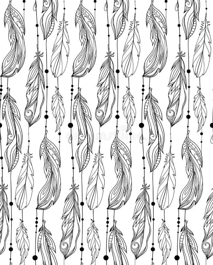 Nahtloses Schwarzweiss-Muster von Hand gezeichneten Federn stock abbildung