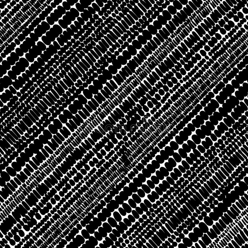 Nahtloses Schwarzweiss-Muster Von Hand gezeichneter Gekritzeldruck Vertikaler Tupfenhintergrund Auch im corel abgehobenen Betrag lizenzfreie abbildung