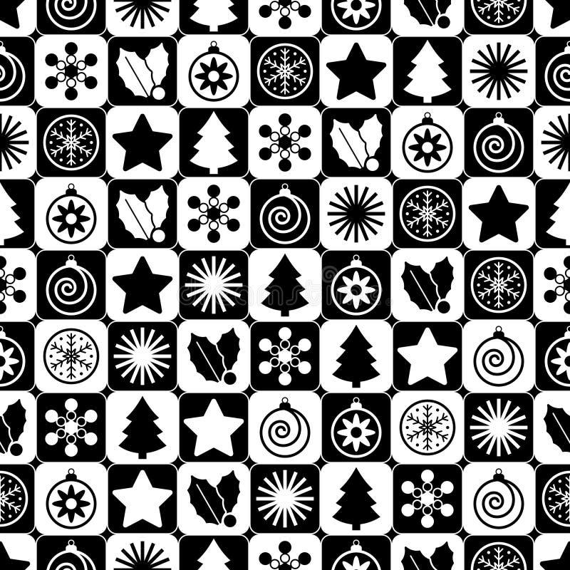 Nahtloses Schwarzweiss-Weihnachten vektor abbildung