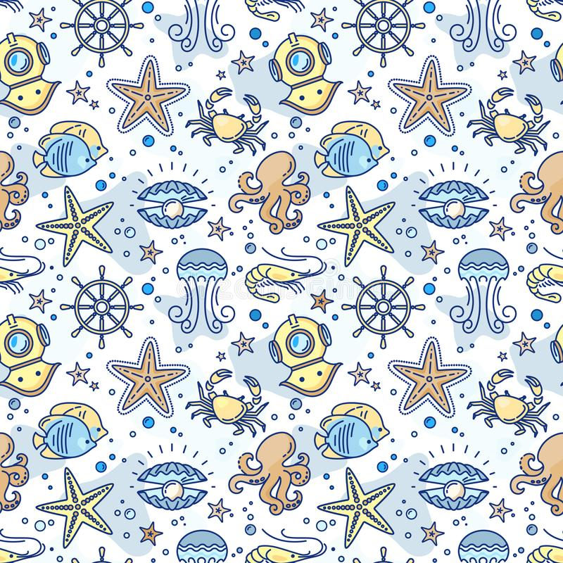 Nahtloses Seekindermuster mit dem Lenkrad, Krabbe, Perle, Starfish, Garnele, Taucherlunge lizenzfreie abbildung