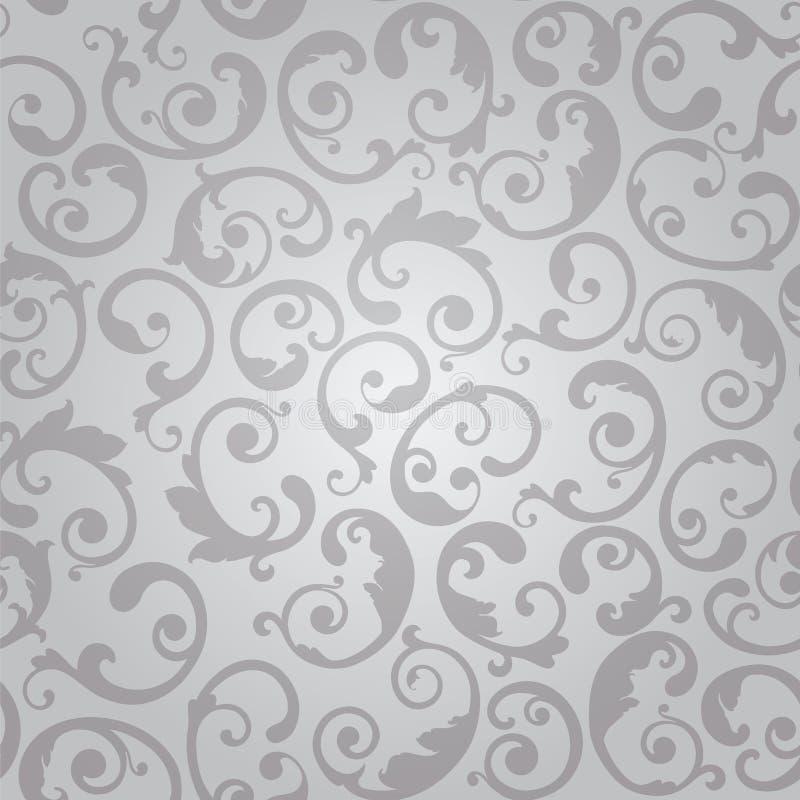 Nahtloses Silber wirbelt Blumentapetenmuster lizenzfreie abbildung