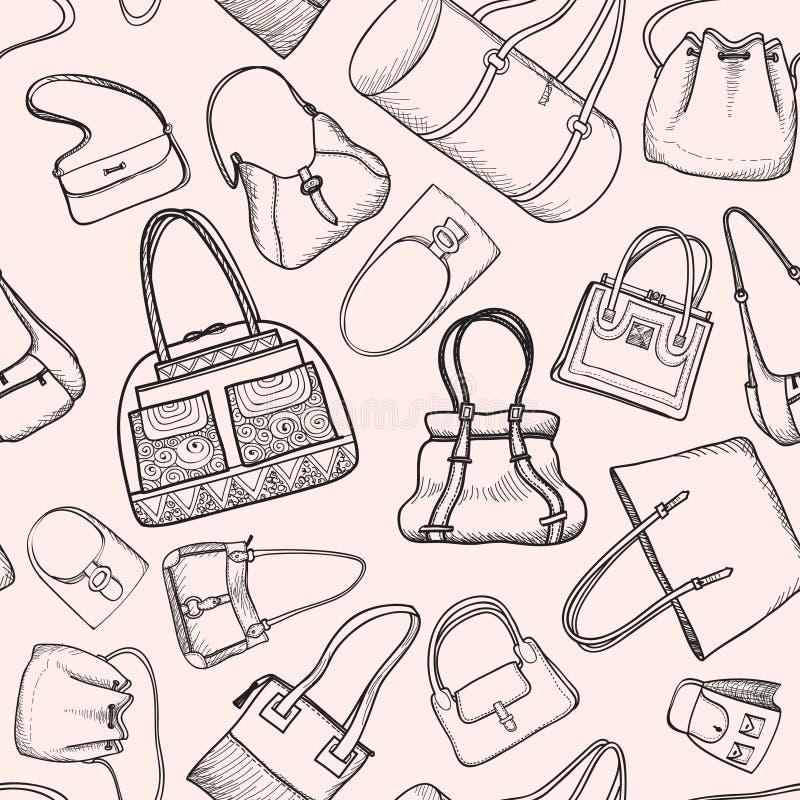 Nahtloses Skizzenmuster der Handtaschen-Mode. lizenzfreie abbildung