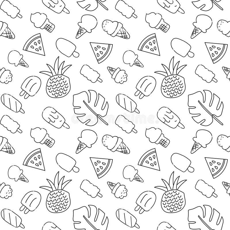 Nahtloses Sommerferien-Ikonenmuster mit Eiscreme, Wassermelone, Ananas und Palmblättern Vektorhandgezogener schwarzer Entwurf lizenzfreie abbildung