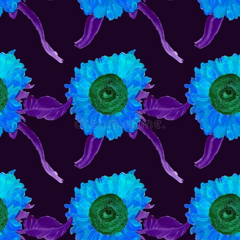 Nahtloses Sommermuster der Aquarellsonnenblume, eigenhändig gemalt, Vektorbild lizenzfreie abbildung