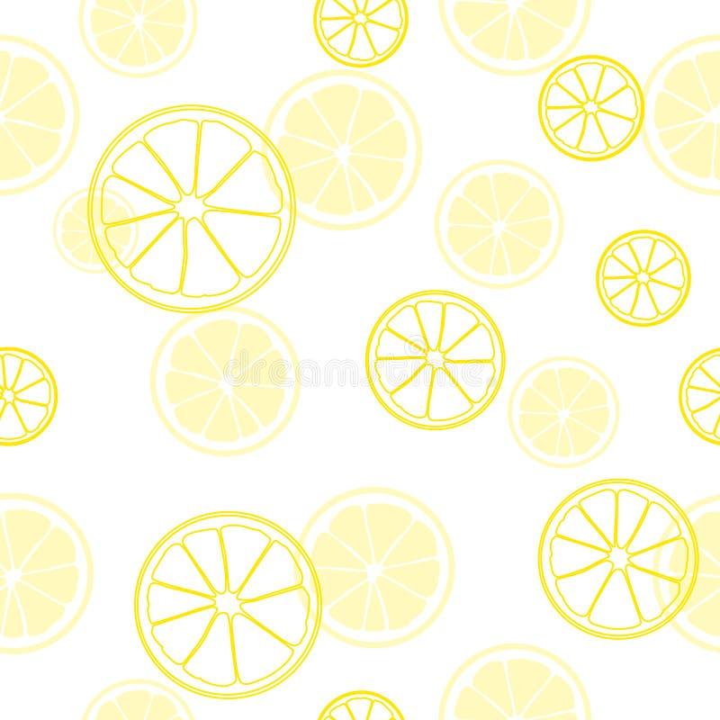 Nahtloses Sommermuster Druck von Scheiben der gelben Zitrone auf weißem Hintergrund Nahrung und Getränk-Reihe stock abbildung
