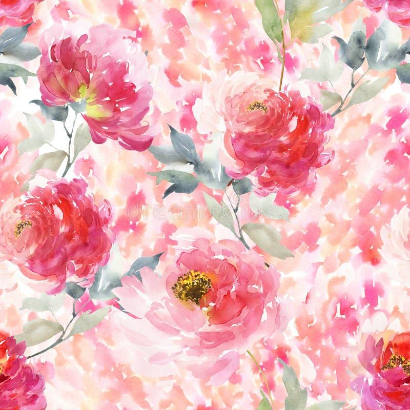 Nahtloses Sommermuster mit Aquarellblumen lizenzfreie abbildung