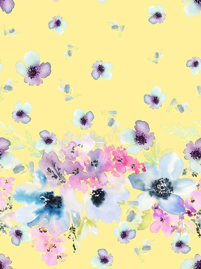 Nahtloses Sommermuster mit Aquarellblumen vektor abbildung
