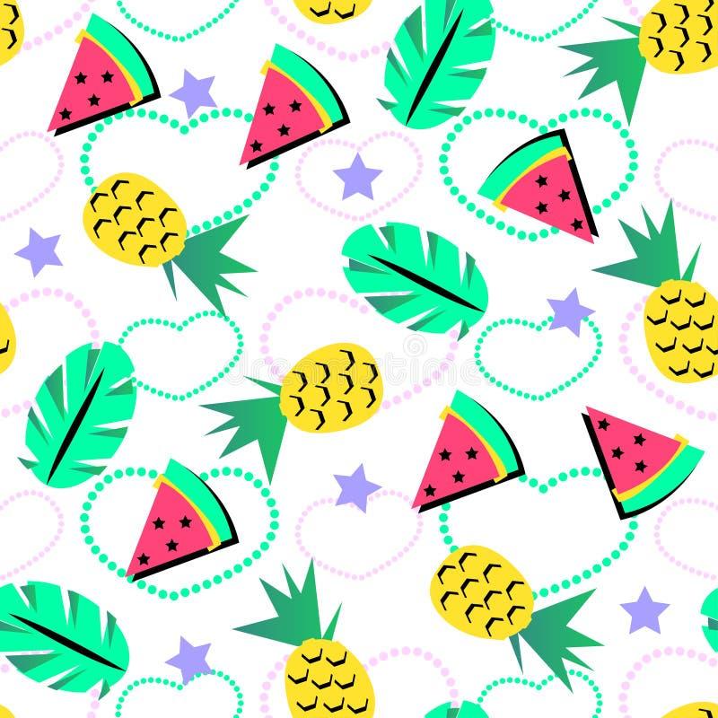 Nahtloses Sommermuster mit Leuchtorangeananas und Wassermelone und tropisches Element auf brith Hintergrund für Jugendliche vektor abbildung