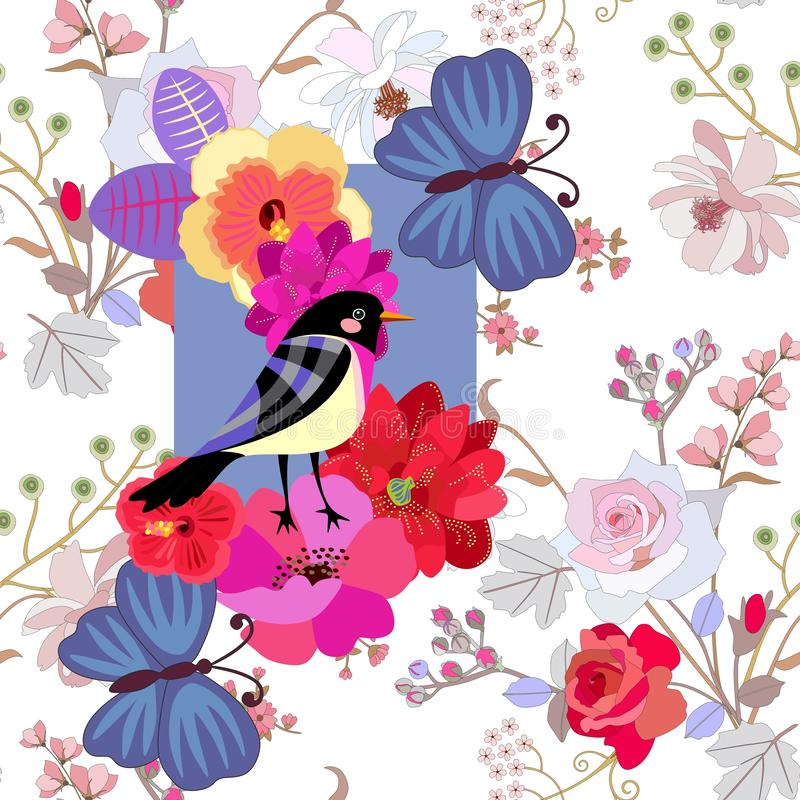Nahtloses Sommermuster mit lustigem Vogel, großen blauen Schmetterlingen und hellen Blumen auf leichtem botanischem Hintergrund D vektor abbildung
