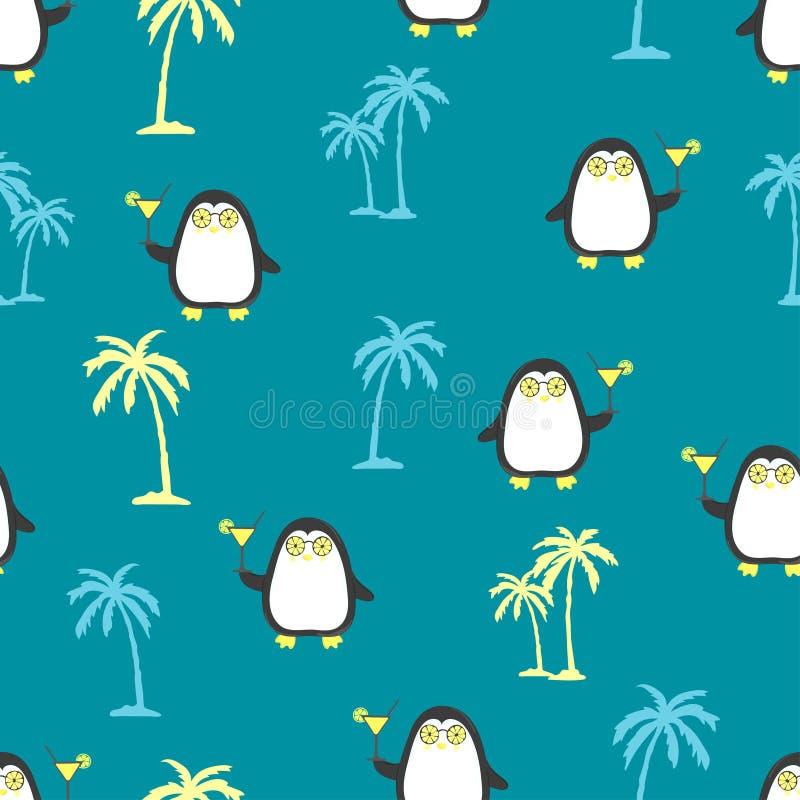 Nahtloses Sommermuster mit netten Pinguinen und Palmen lizenzfreie abbildung