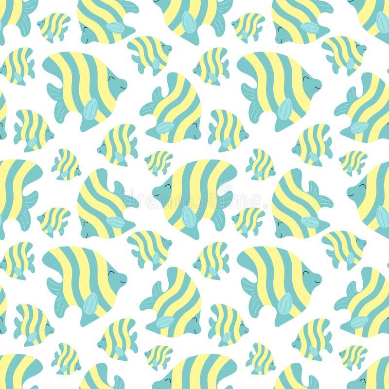 Nahtloses Sommermuster mit netten Streifenfischen Vektorseeillustration für Kinder, Feiertag, Hintergrund, Druck, Gewebe, vektor abbildung