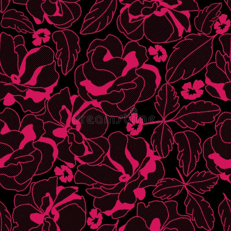 Nahtloses Spitzerosamuster mit Blumen für das Wäsche- und Modetragen stock abbildung
