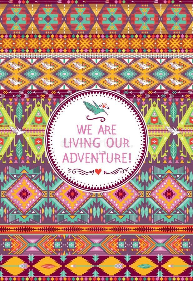 Nahtloses Stammes- Muster des Hippies mit geometrischen Elementen lizenzfreie abbildung