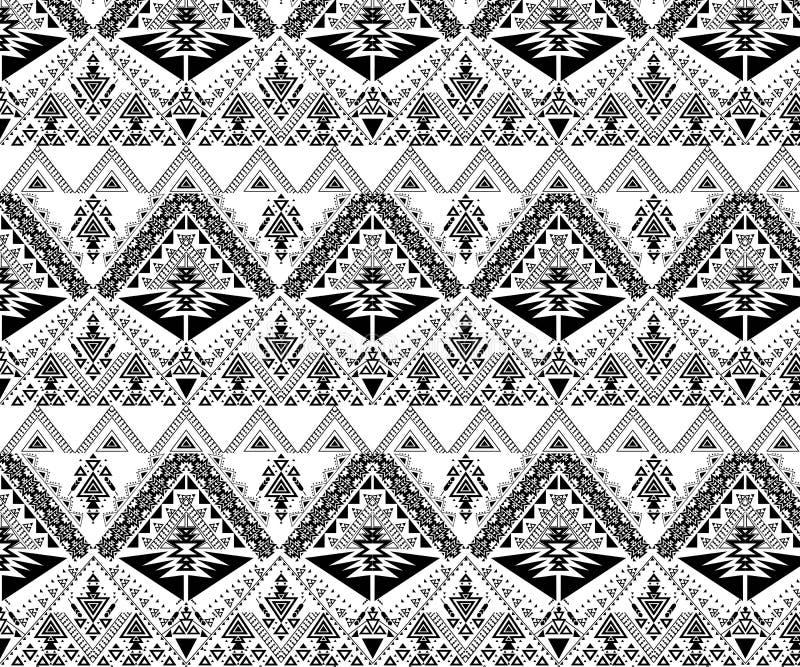 Nahtloses Stammes- Muster des Vektors Stilvoller Art Ethnic Print Ornament mit Dreiecken, lizenzfreie stockfotografie